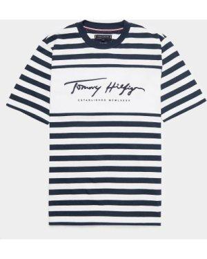 Men's Tommy Hilfiger Signature Stripe Short Sleeve T-Shirt Multi, Navy/White