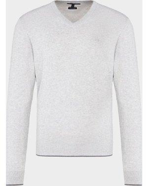 Men's Armani Exchange Core V-Neck Knitted Jumper Grey, Grey