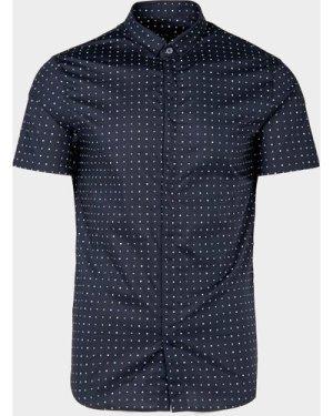 Men's Armani Exchange All Over Micro Logo Short Sleeve Shirt Blue, Navy