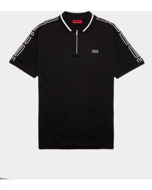 Men's HUGO Dolmar Tape Short Sleeve Polo Shirt Black, Black/Black