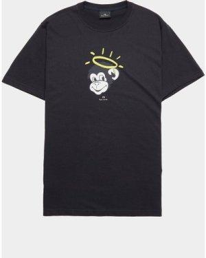 Men's PS Paul Smith Monkey Halo Short Sleeve T-Shirt Black, Black