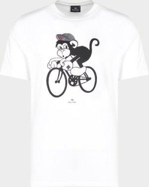 Men's PS Paul Smith Bike Monkey T-Shirt White, White