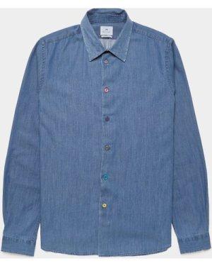 Men's PS Paul Smith Multi Button Long Sleeve Shirt Blue, Blue