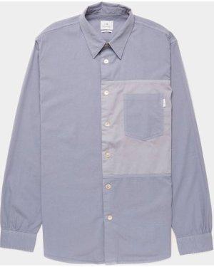 Men's PS Paul Smith Panel Pocket Long Sleeve Shirt Blue, Navy