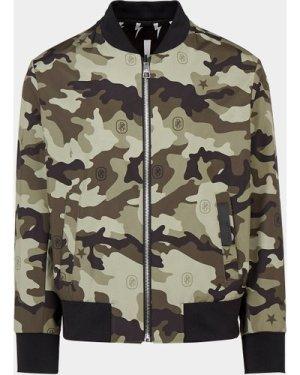 Men's Neil Barrett Bolt Camouflage Reversible Bomber Jacket Black, Black