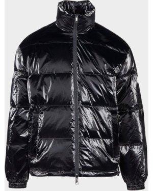 Men's Armani Exchange Shiny Baffle Padded Jacket Black, Black/Black
