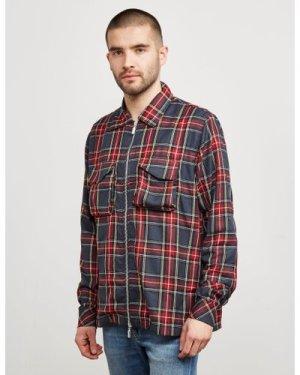 Men's RHUDE Check Zip Through Shirt Red, RED/RED