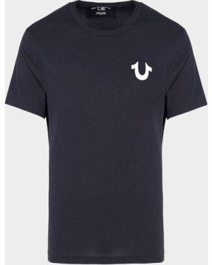 Men's True Religion Back Letter Short Sleeve T-Shirt Black, Black/Black