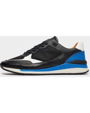 Men's BOSS Element Leather Run Trainers Multi, Black/Blue