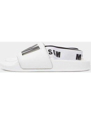 Women's MSGM Elastic Strap Slides White, White
