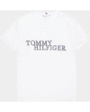 Women's Tommy Hilfiger Woven V Neck Short Sleeve T-Shirt White, White