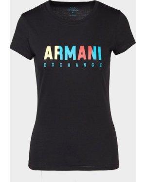 Women's Armani Exchange Multi-Colour Logo T-Shirt Black, BLK/BLK