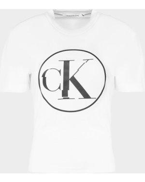 Women's Calvin Klein Jeans Circle Logo T-Shirt White, White