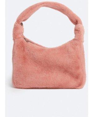 Womens Faux Fur Mini Shoulder Bag - pink, Pink