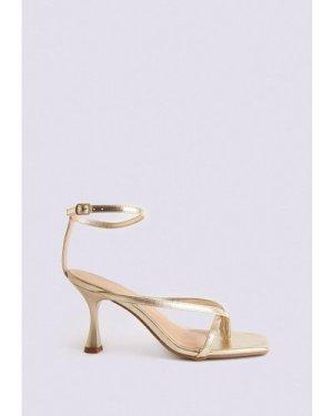 Womens Ankle Strap Kitten Heel Sandal - metallic gold, Metallic Gold