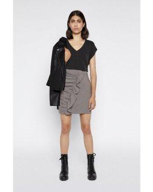 Womens Check Frill Pelmet Skirt - multi, Multi