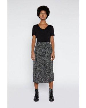 Womens Printed Midi Skirt - black, Black