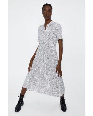 Womens Printed Midi Shirt Dress - beige, Beige
