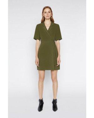 Womens Wrap Crepe Dress - khaki, Khaki
