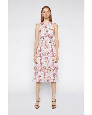 Womens Floral Pleated Midi Dress - multi, Multi
