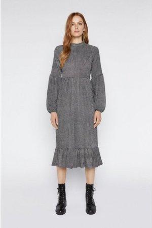 Womens Gingham Tiered Midi Dress - black, Black