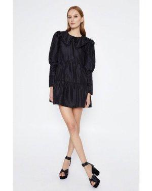 Womens Collar Detail Taffetta Dress - black, Black