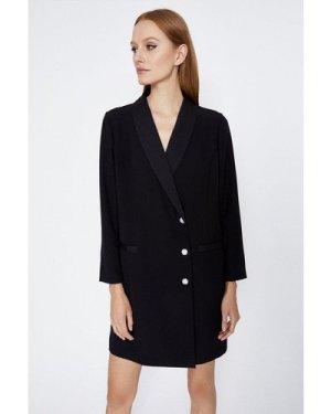 Womens Relaxed Tuxedo Dress - black, Black