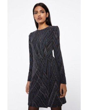 Womens Glitterball Zig Zag Dress - black, Black