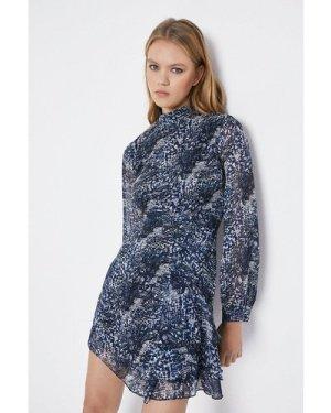 Womens High Neck Ruffle Hem Mini Dress - blue, Blue