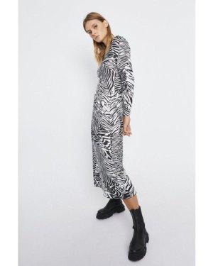 Womens Printed Crew Neck Midi Dress - mono, Mono