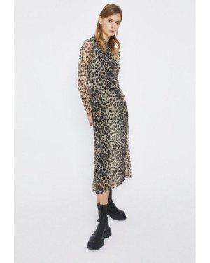 Womens Printed Mesh Funnel Neck Midi Dress - animal, Animal