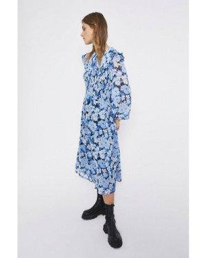 Womens Bloom Floral Collar Detail Midi Dress - blue, Blue