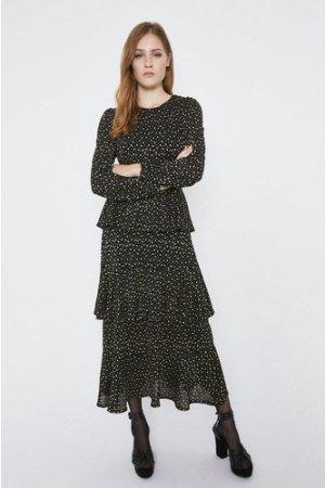 Womens Metallic Spot Tiered Midi Dress - black, Black