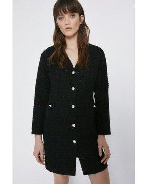 Womens Tweed Mini Blazer Dress - black, Black