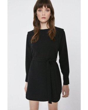Womens Belt Detail Lip Shoulder Dress - black, Black