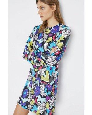 Womens Floral Bold Sholder Mini Dress - multi, Multi