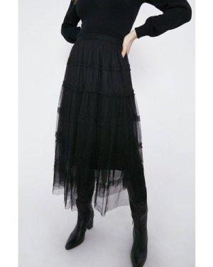 Womens Tiered Mesh Midi Skirt - black, Black