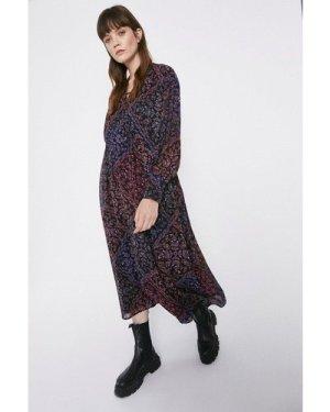 Womens Paisley Scarf Print Trapeze Dress - multi, Multi