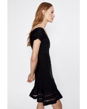Womens Bardot Skater Knitted Dress - black, Black