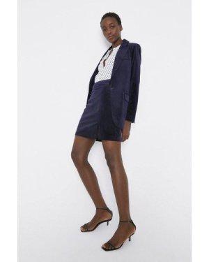 Womens Velvet Mini Skirt - navy, Navy