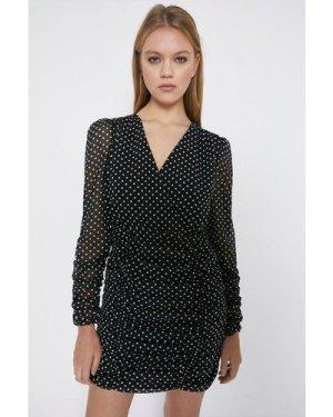 Womens Ruched Body And Sleeve Mini Dress - black, Black