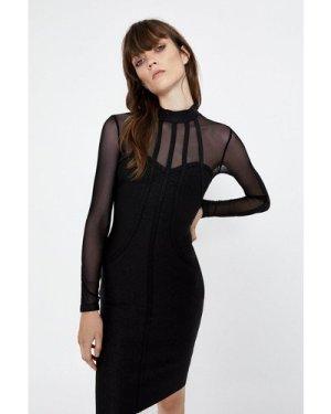 Womens Mesh Sleeve High Neck Bodycon Dress - black, Black