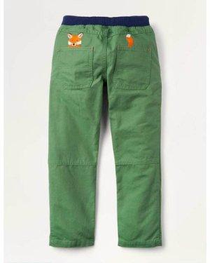 Rib Waist Appliqué Trousers Green Boys Boden, Green