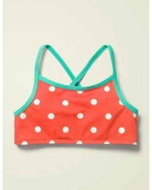 Patterned Bikini Top Red Girls Boden, Ivory