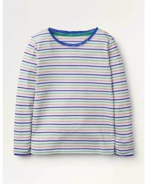Supersoft Pointelle T-shirt Multi Girls Boden, Blue