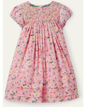 Smocked Puff Sleeve Dress Pink Girls Boden, Pink