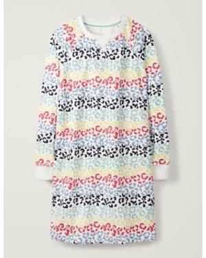 Ava Sweatshirt Dress Ivory Boden, Leopard