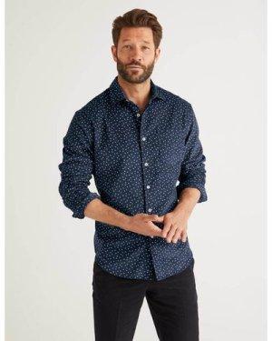 Cord Print Shirt Navy Men Boden, Blue