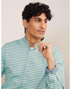 Herringbone Grandad Shirt Green Men Boden, Green