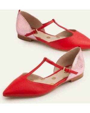 Sienna T-Bar Flats Red Women Boden, Red